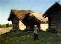en bondedreng foran nogle træhytter i et marklandskab by evgeniy ivanovich stolitsa