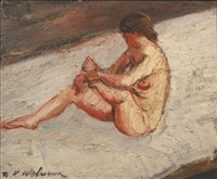 nude woman by henri victor wolvens