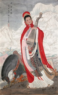 lady with horse by liu fufang