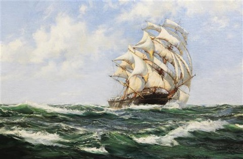 rolling home american clipper ship the light brigade by montague dawson