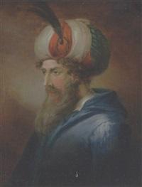 orientalsk mand med langt skæg, turban og blå jakke by emanuel limnell