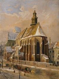 winter in der stadt. blick auf droschken vor gothischer kirche by ferdinand otto leiber