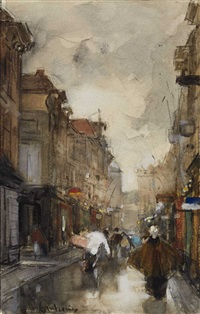 a street in the hague after the rain by floris arntzenius
