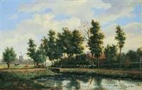 landschaft mit teich by marianus adrianus koekkoek