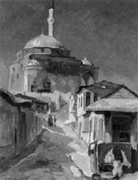 straßenszene vor einer türkischen moschee by franz markau