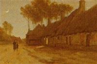 landsbygade med spadserende personer by henri linquet