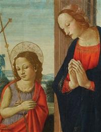maria mit christus und dem johannesknaben by master of san miniato