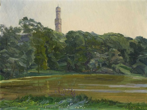 the park in bad homburg with the white tower by wilhelm trübner