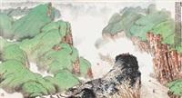 夔门 镜框 设色纸本 by lin fengsu