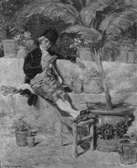 ein lesender herr auf einer mediterranen terrasse by josé serra y porson