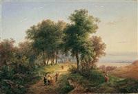 landschaft mit weg am waldrand by marianus adrianus koekkoek