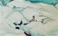 dorf in den winterlichen bergen by adolf büger
