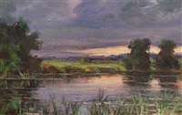 evening by the lake by sergei ivanovich endogouroff