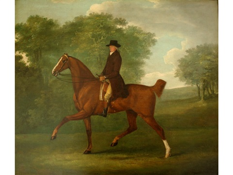a gentleman riding out on a bay hunter in a park by john nost sartorius