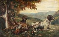 jagdstillleben mit zwei hunden by august haas
