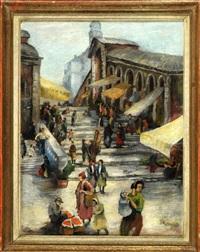 belebte marktszene auf der rialtobrücke in venedig by hans götzinger