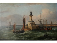 ramsgate: vessels off the lighthouse (+ vessels in the harbor; 2 works) by george webster