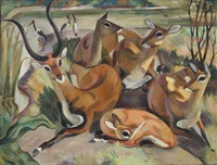 herd of gazelles by river by walter channing addison