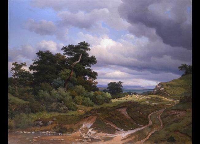 südbayerische landschaft mit blick auf einen see by georg heinrich crola