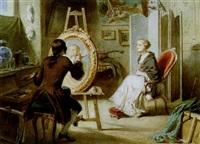 maler in seinem atelier, ein junges mädchen porträtierend by gustave david