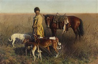 a panoramic landscape with a cossack and dog hunting by hugo ungewitter