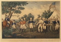 the surrender of general burgoyne at saratoga by john trumbull