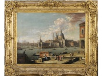 venice: the s. maria della salute, with figures at the waterfront by jacopo fabris