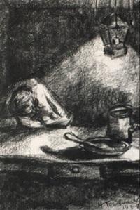 eingeschlafener arbeiter am tisch by hans tombrock