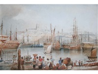figures and animals at a busy waterfront, vessels in harbour beyond by george bryant campion