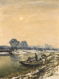 a winter landscape with a sailing boat by maximilien (max) clarenbach