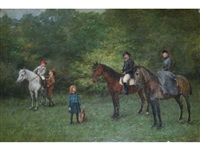 a family with their horses by jenö (eugen) kemendy