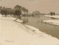a winter landscape by maximilien (max) clarenbach