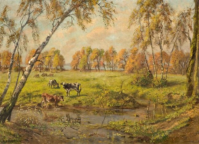 grazing cows by rudolf von voigtländer