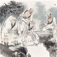 luohans (set of 4) by dai dunbang
