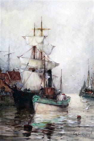 paddle steamer and schooners in harbour by frederick william scarborough