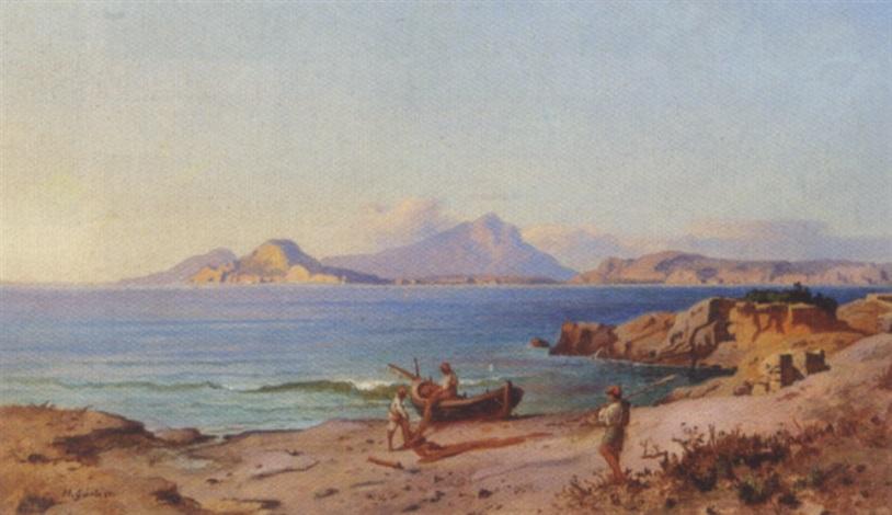 parti fra napolibugten med fiskere i arbejde på stranden by heinrich gärtner