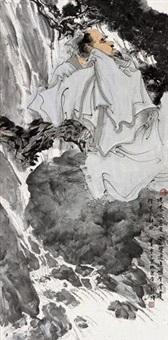 听泉图 镜框 设色纸本 by lin yong