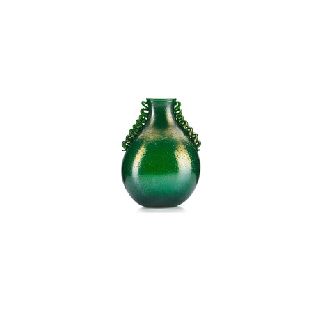 Rare Large Pulegoso Glass Vase With Applied Handles By Napoleone