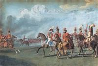frederik vi omgivet af sine adjudanter, alle til hest by johannes senn