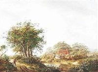 holländische landschaft mit bauernkaten am wasser by gerrit muller