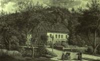 s,chsische landschaft mit einer villa am waldrand by karl gottfried traugott faber
