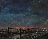 voie ferroviaire la nuit by louis leprince-ringuet