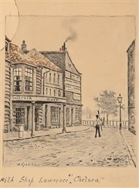 second hand furniture shop, duke st, chelsea; milkshop, lawrence chelsea; the old archway & bootshop, chelsea (3 works) by walter greaves
