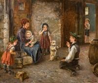 spielende kinder mit hund by arthur hutschenreuter