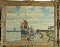 segelboote an der holländischen küste mit fischern, frauen und kindern vor der abfahrt by adolf hilgers