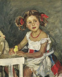 porträt eines kleinen mädchens am tisch sitzend by otto sohn-rethel