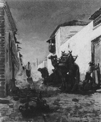 nordafrikanische strassenszene by joseph charles adrien valette