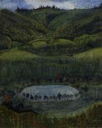 landschaft mit teich by hermann huber