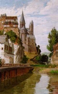 blick entlang der lahn auf burg und domchor in limburg by friedrich reiniger