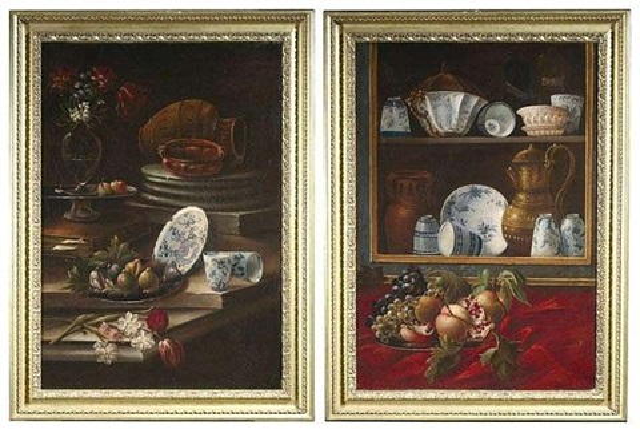 glasschrank mit chinesischem porzellan früchten und anderen gegenständen another similar pair by cristoforo munari